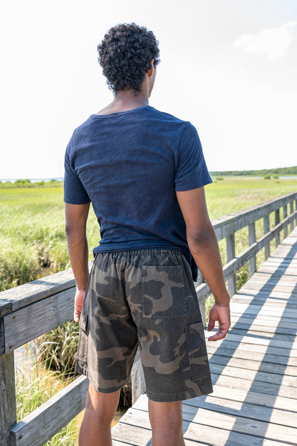 Utility Cargo Shorts in Black Camo