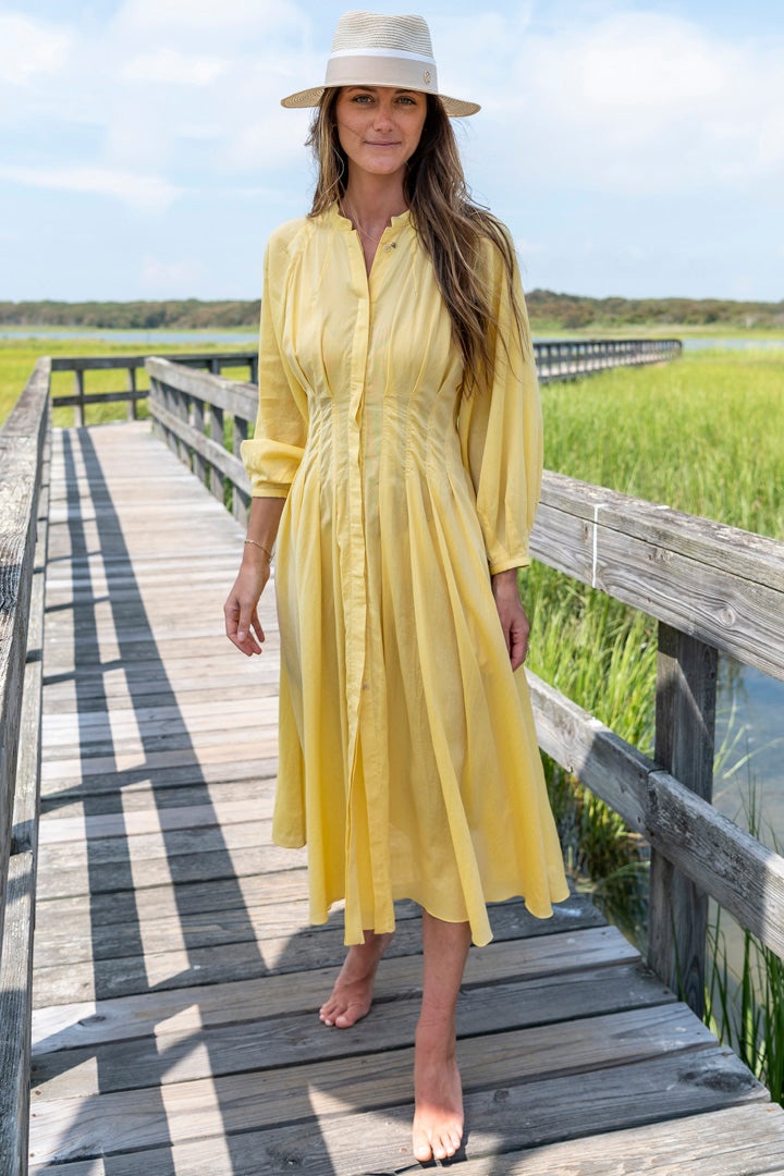 Valeraine Shirt Dress in Yellow