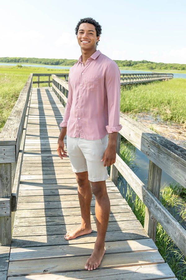 St. Germain Pocket Shirt in Powder Pink