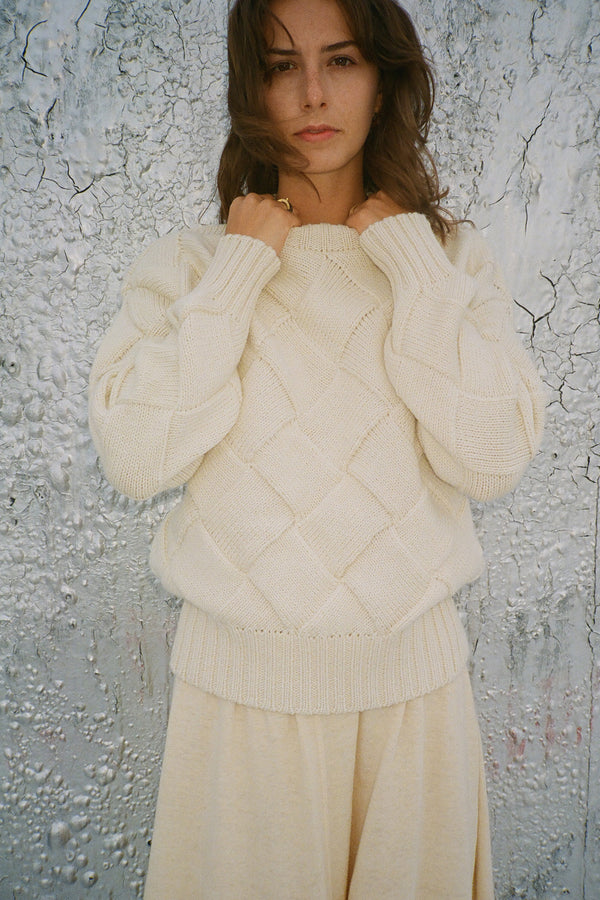Basket Weave Sweater in Cream