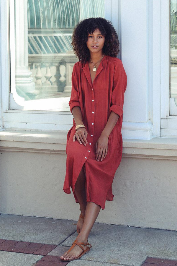 Jasmine Button Down Midi Dress in Pompeii Gauze