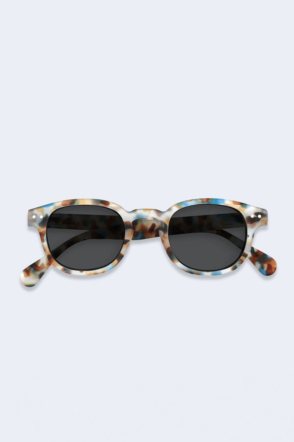 Sunglasses #C Blue Tortoise Soft Grey Lenses