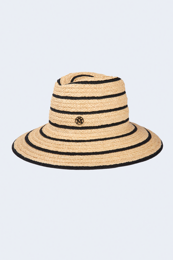 Kate Black and Natural Straw Mix Hat