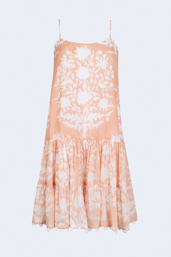 Strappy Palladio Block Print Dress in Jaipur Pink