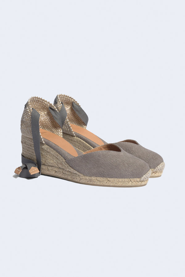 Chiara V Toe Platform Wedge Heel 8 Espadrille in Plomo Grey