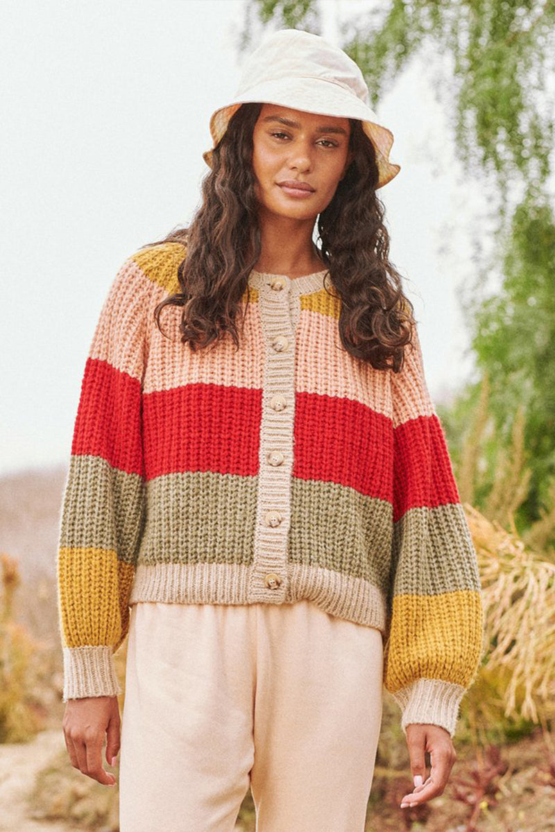 The Bold Striped Sophomore Cardigan in Carousel Stripe