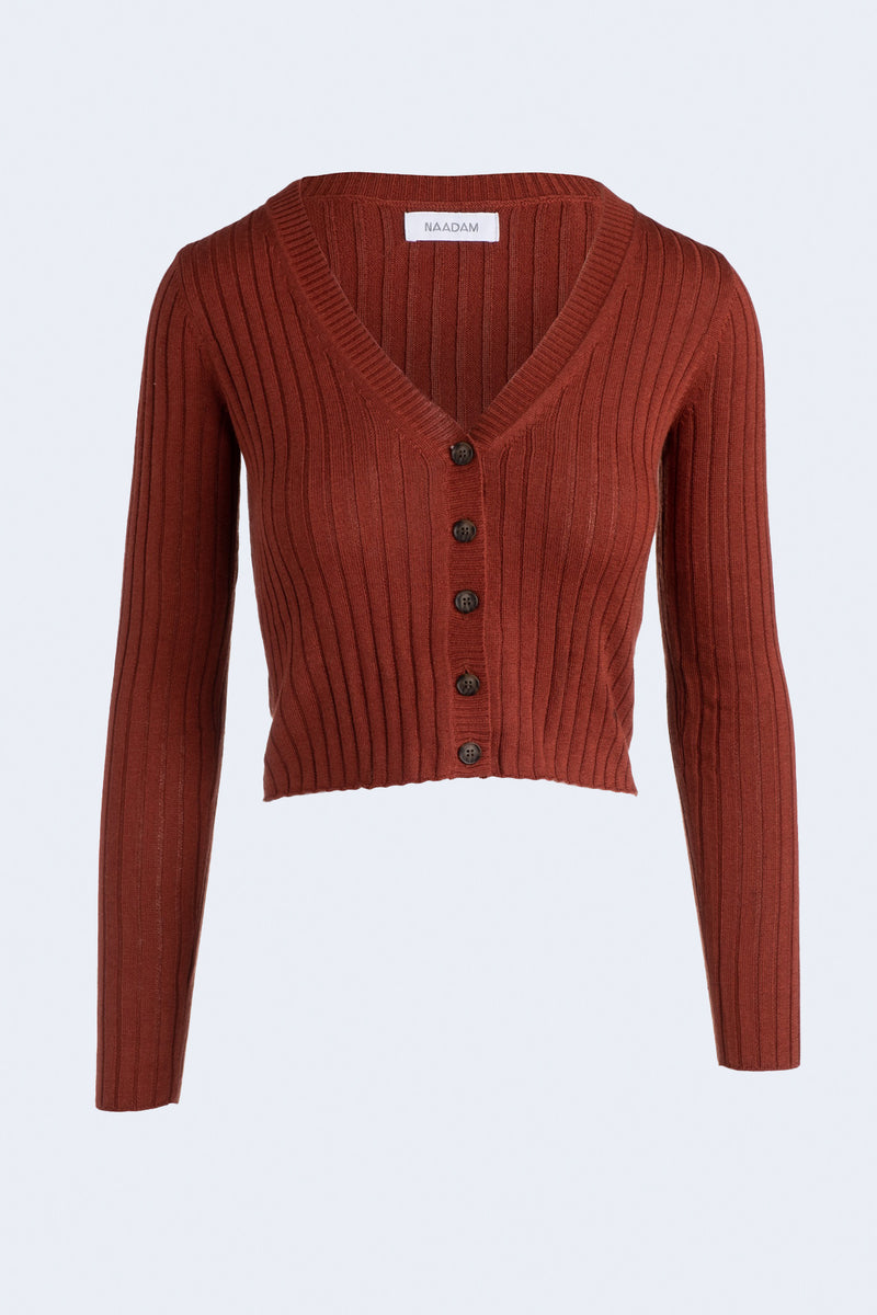 Ribbed Cropped Cardigan in Brick
