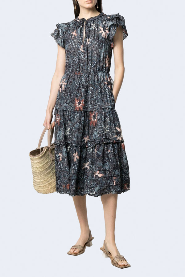 Rema Floral Constellation Dress in Azul