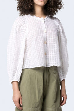Organza Check Voile Shirt with Silk Detail in Bianco