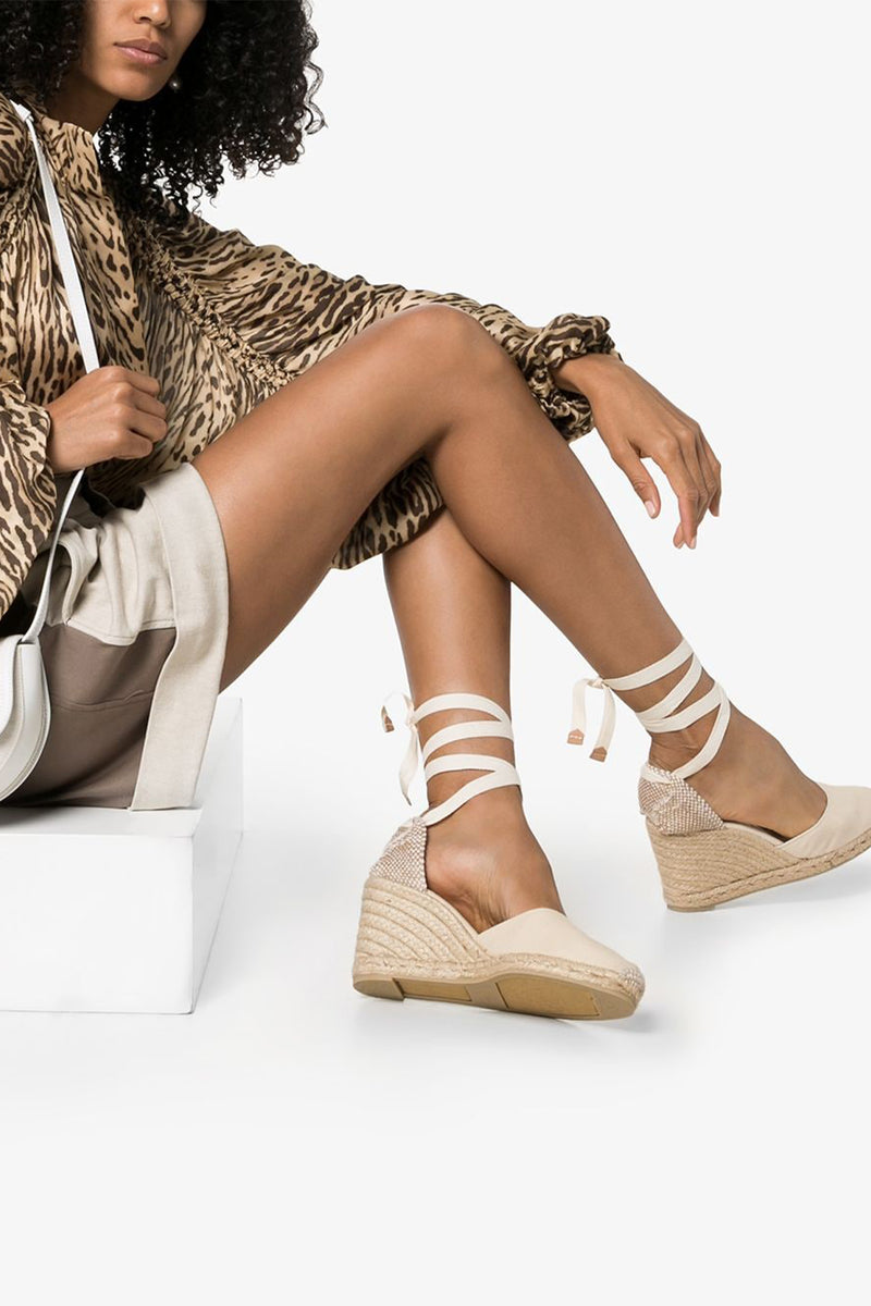 Carina Tie Strap Wedge Heel and Espadrille in Ivory