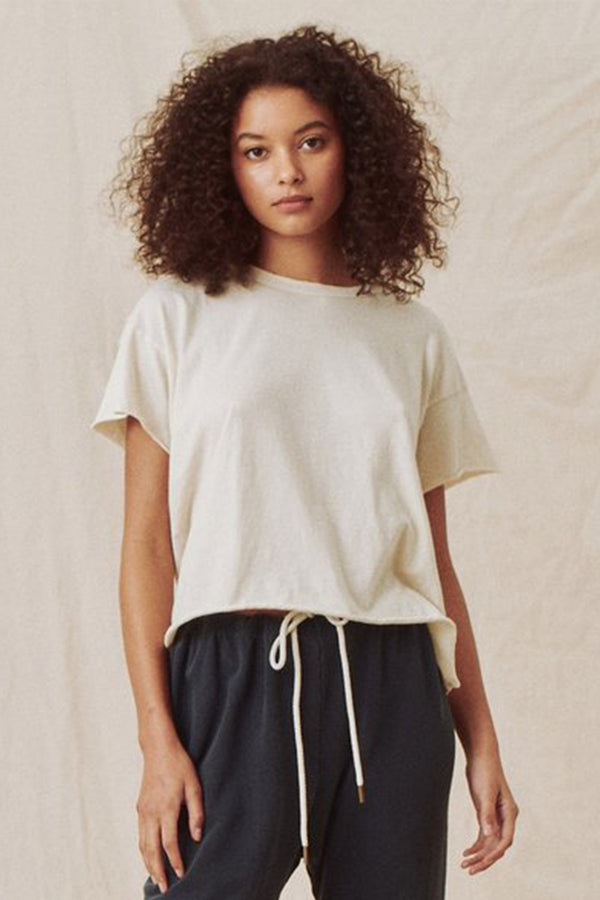 The Crop Tee in Washed White