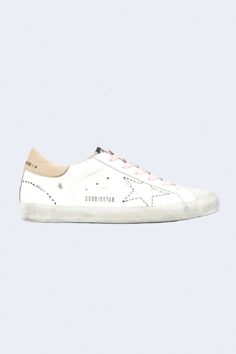 Women's Superstar Dotted Star Leather Sneaker in Ice White Incense