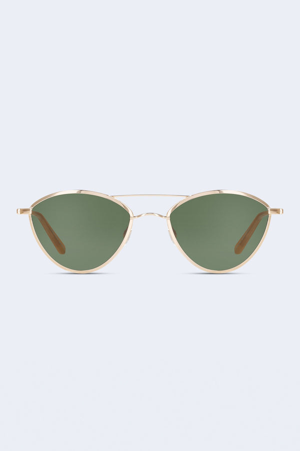 Breeze Sunglasses in Gold Toffee with Semi-Flat Green Lenses