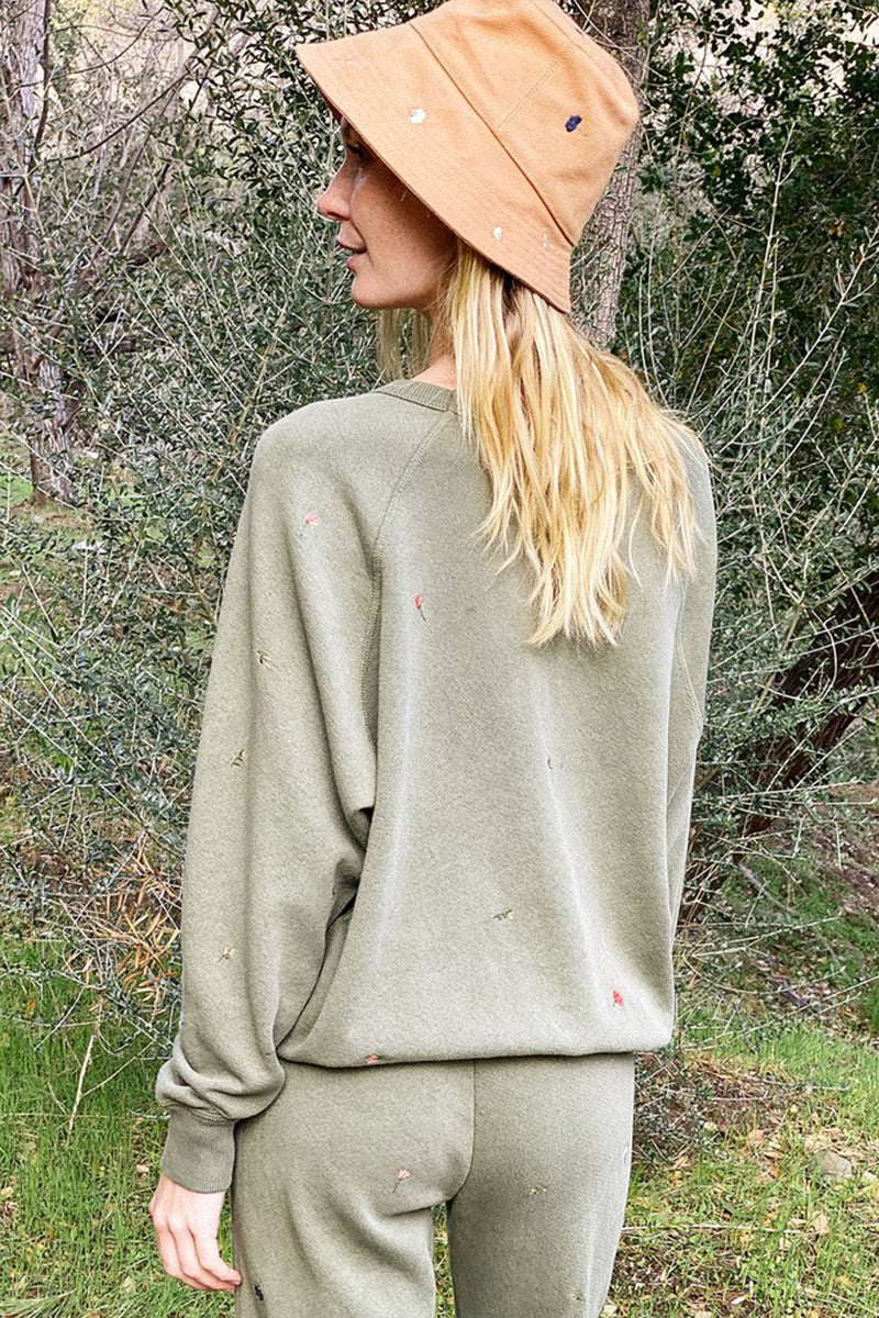 The College Sweatshirt with Tossed Floral Embroidery in Army