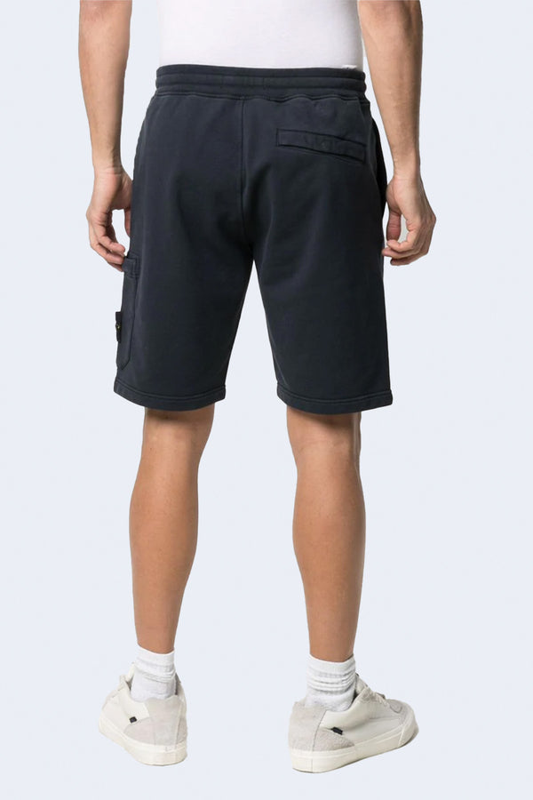 Fleece Shorts with Tie Waist and Side Pocket in Navy Blue