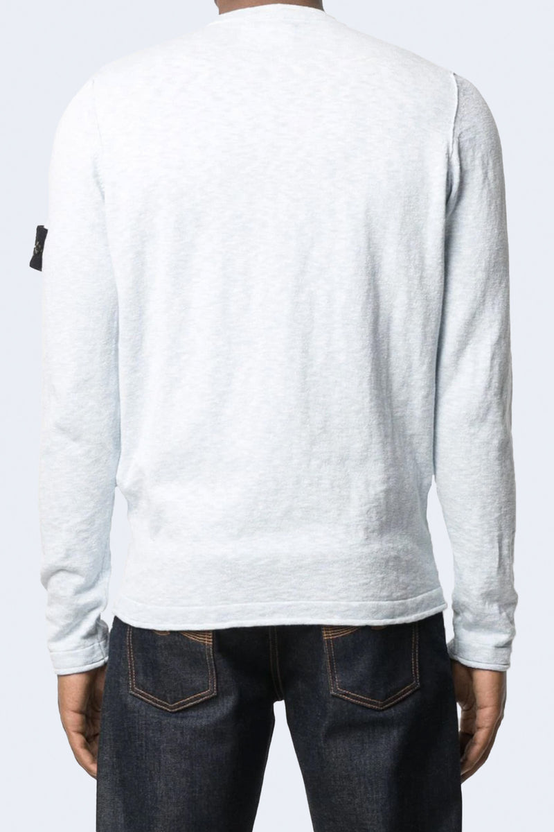Crewneck Knit with Arm Patch in Sky Blue