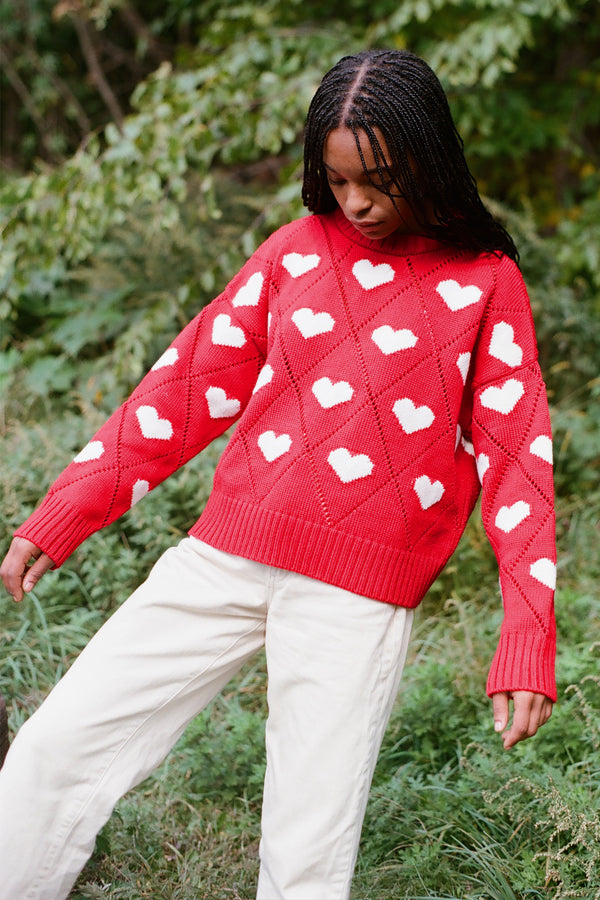 Intarsia Hearts Sweater in Red White