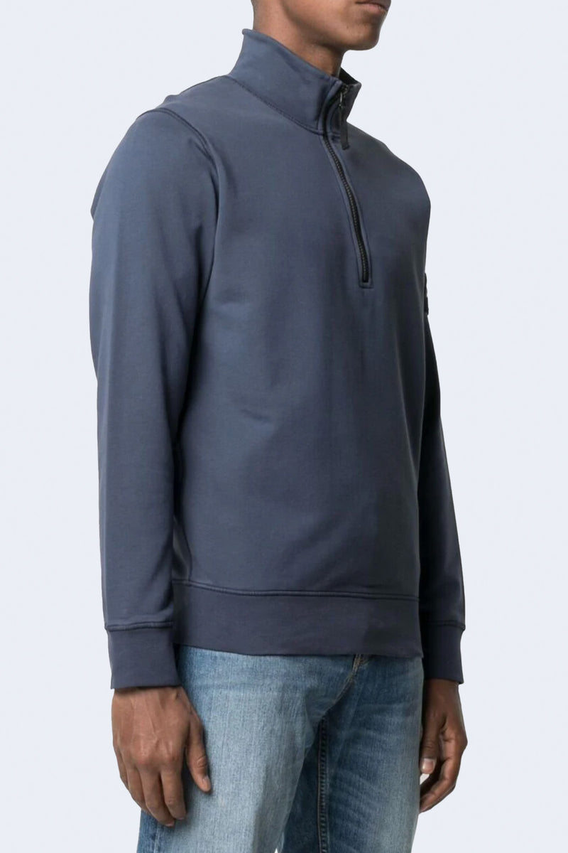 Half-Zip Sweatshirt with Arm Patch in Dark Blue