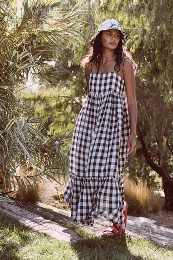 The Dainty Dress in Black and Cream Gingham