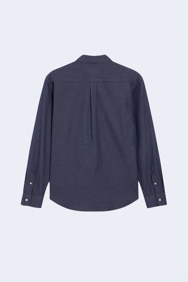 Fox Head Embroidery Classic Shirt in Navy
