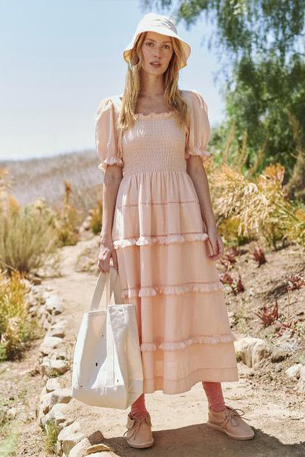 The Scallop Savanna Dress in Light Peach