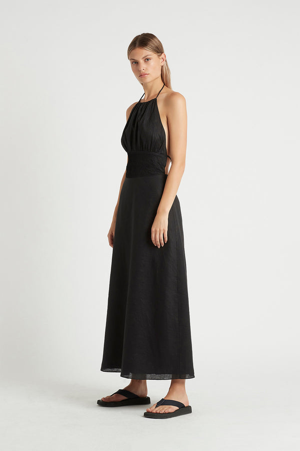 Blanche Tie Back Dress in Black