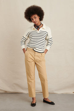 Women's Jacques Stripe Pullover in Ivory Dark Navy