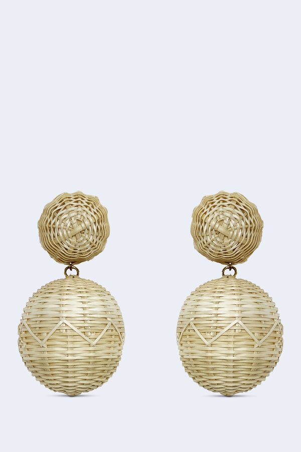 Bonbons 2 Drop Earrings with Hand Woven Rattan, Brass Links, and Gold Plated Pewter Post