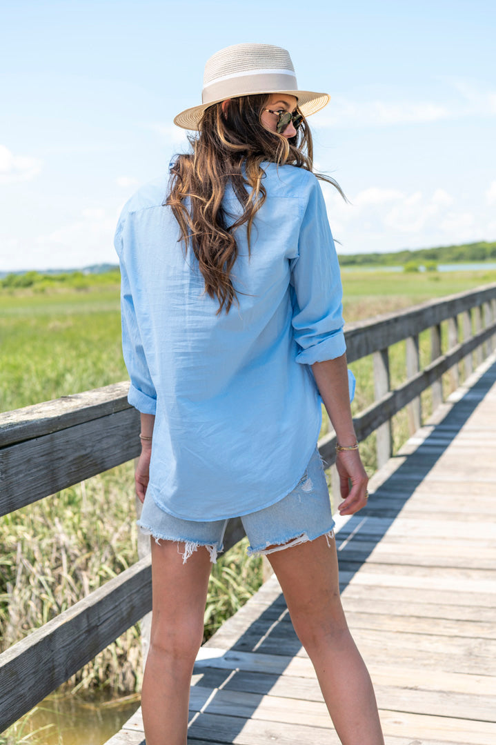 Beau Cotton Poplin Button Down in Sea Air