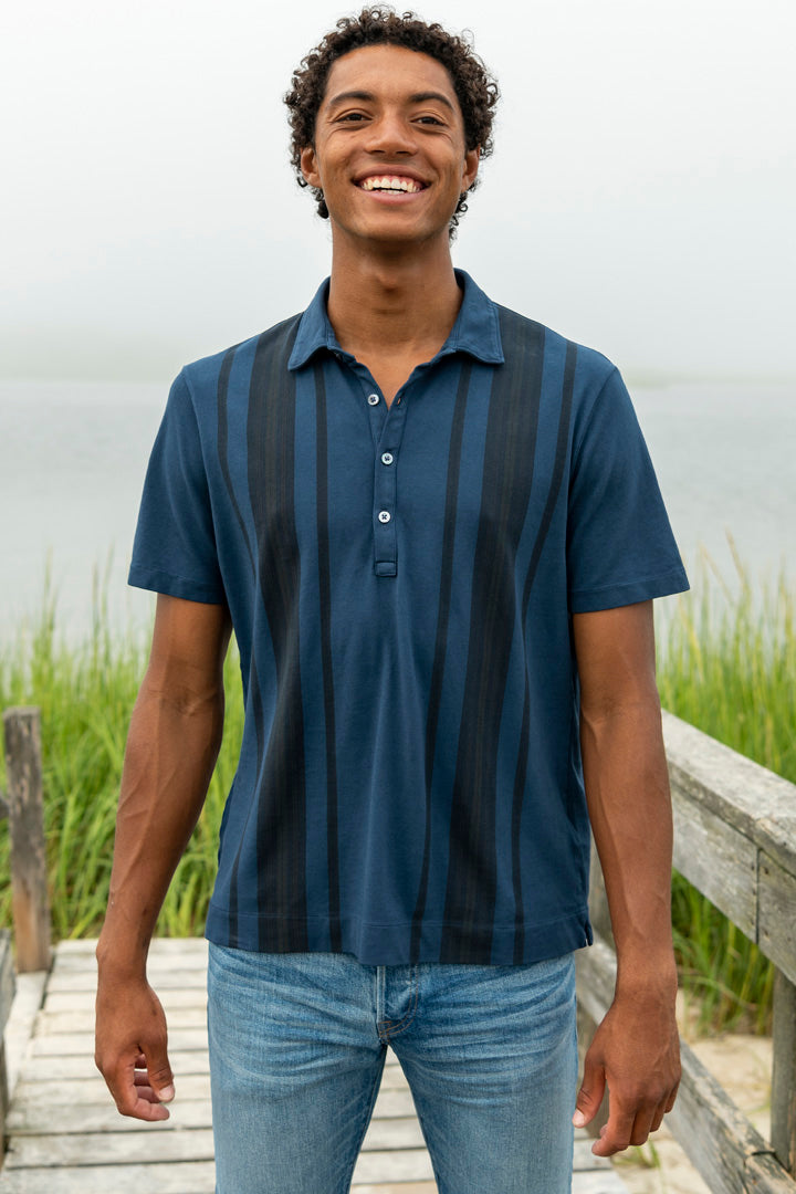 Short Sleeve Stripe Polo in Blue