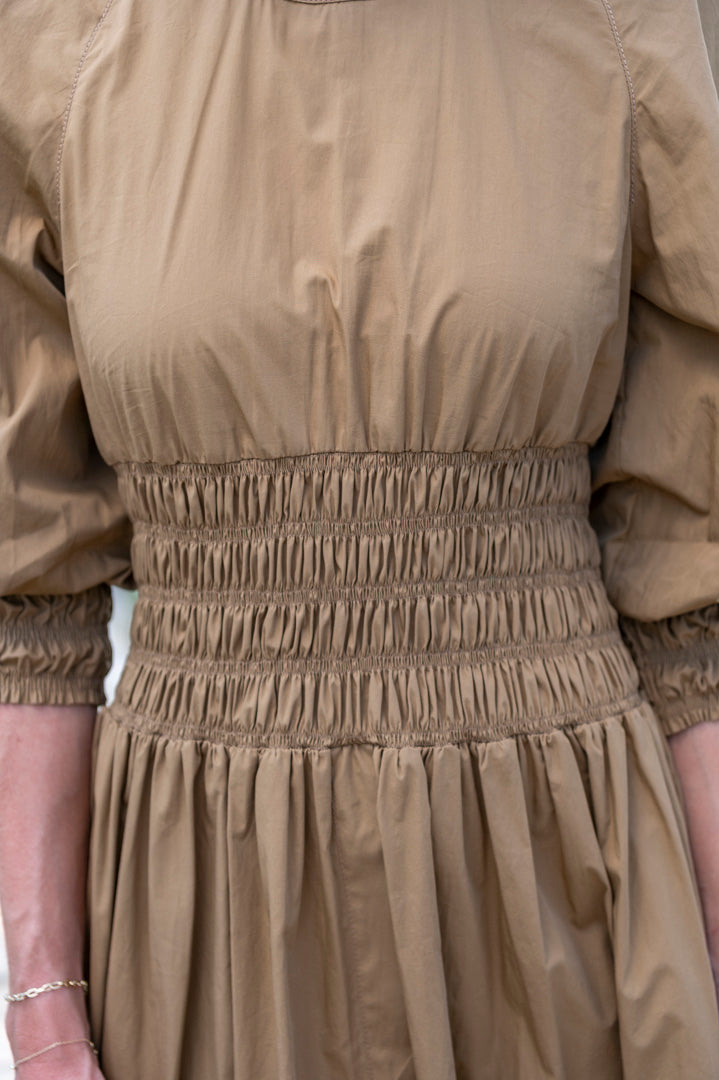 Arianna Smocked Cotton Dress in Brown