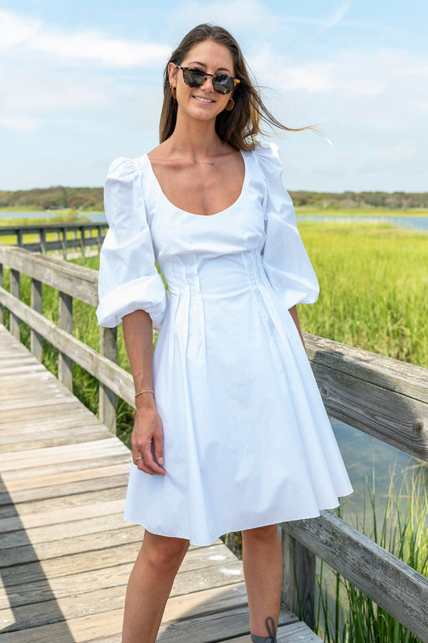 Rina Cotton Poplin Scoop Neck Dress in White