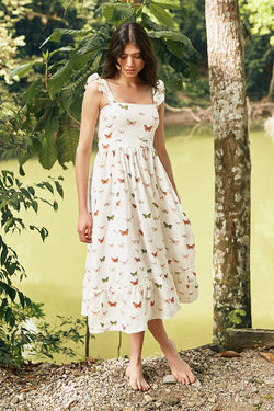Herbarium Sleeveless Midi Dress in White Butterfly Print