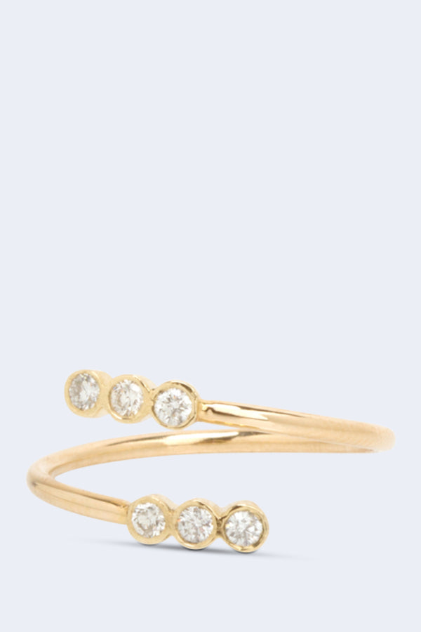 14K Gold Bypass Ring with White Diamonds
