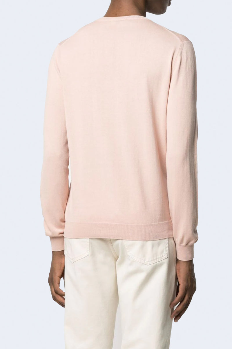 Cotton Long Sleeve Crew in Light Pink