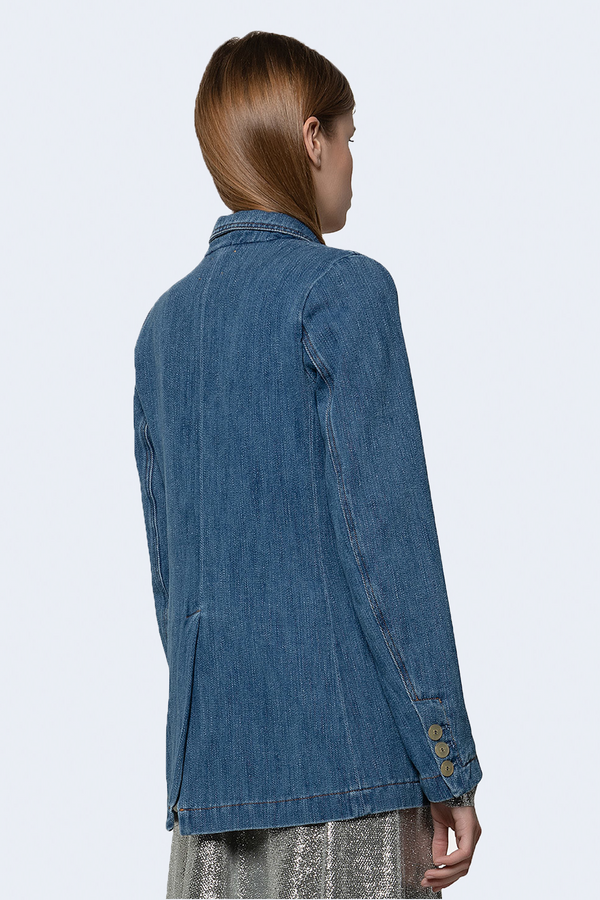 Double Breasted Calvary Cotton Denim Jacket in Delave