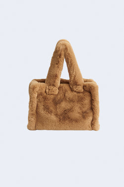 Liz Faux Fur Velvety Heavy Bag in Camel