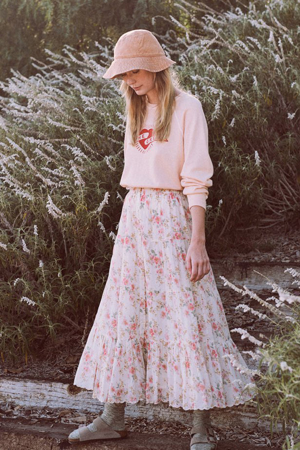 The Button Up Tier Skirt in Pink Sweet Pea Floral
