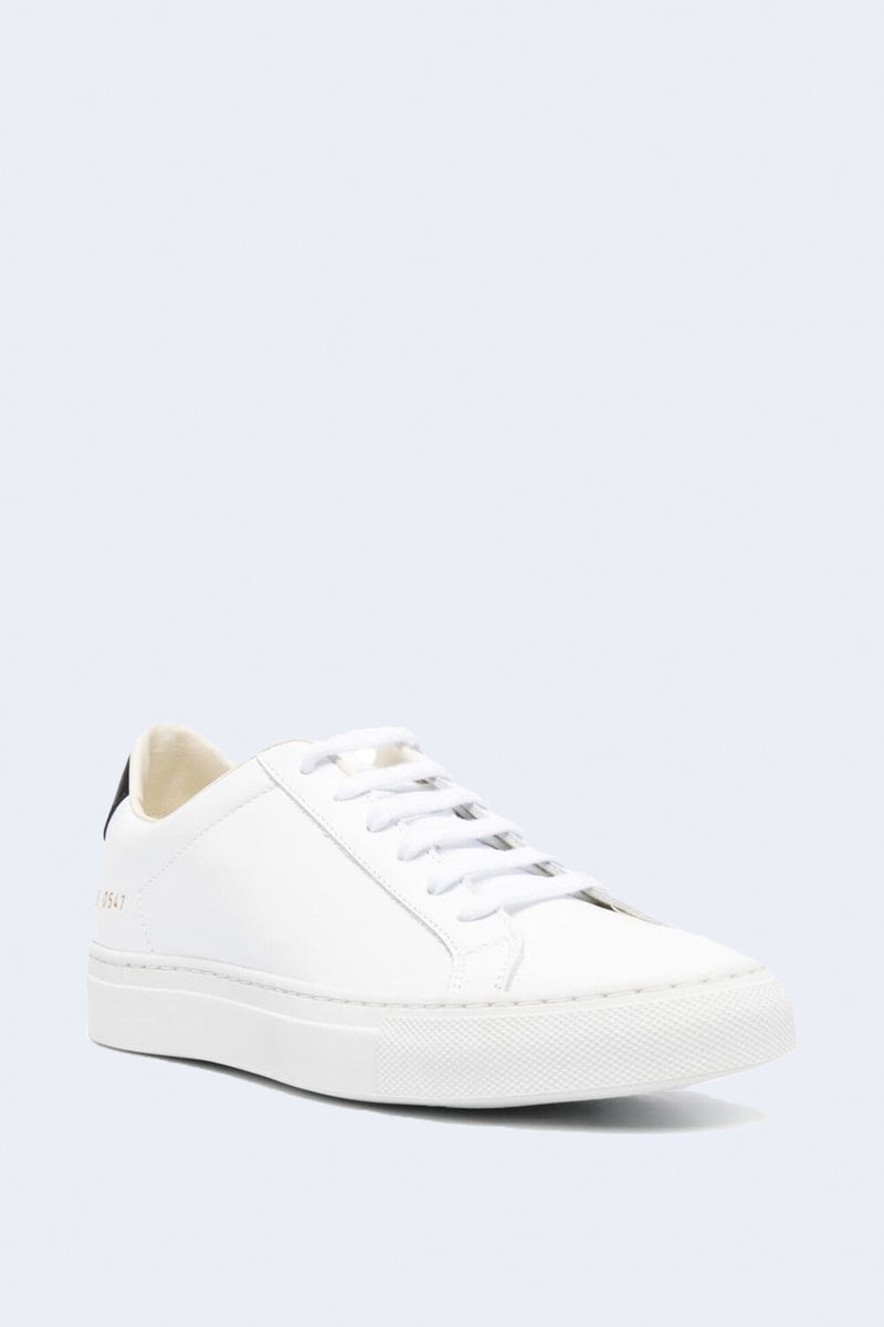 Women's Retro Low Sneaker in White & Black