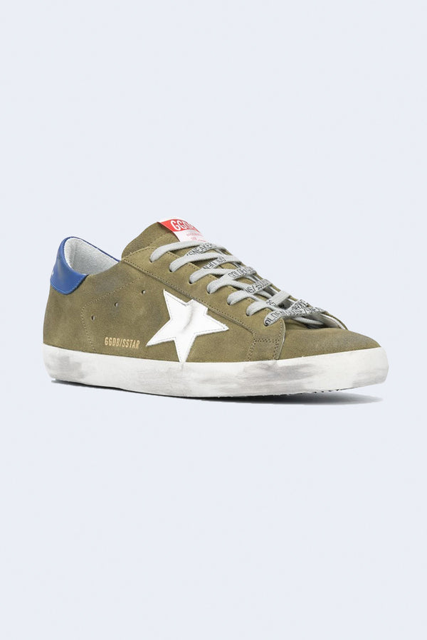 Men's Superstar Suede Sneakers in Wood Green White Blue
