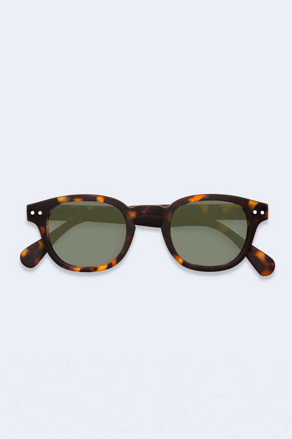 Sunglasses #C Tortoise with Green Lenses