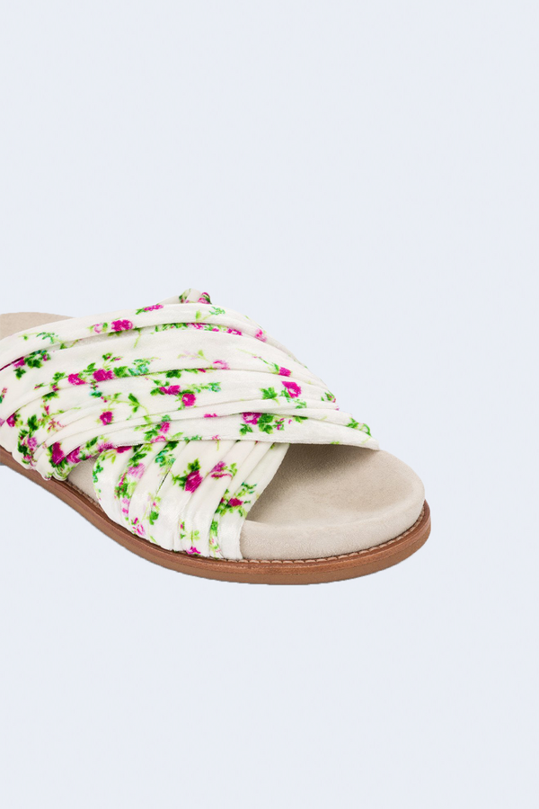 Wildflowers Velvet Sandals in Liberty White Pink