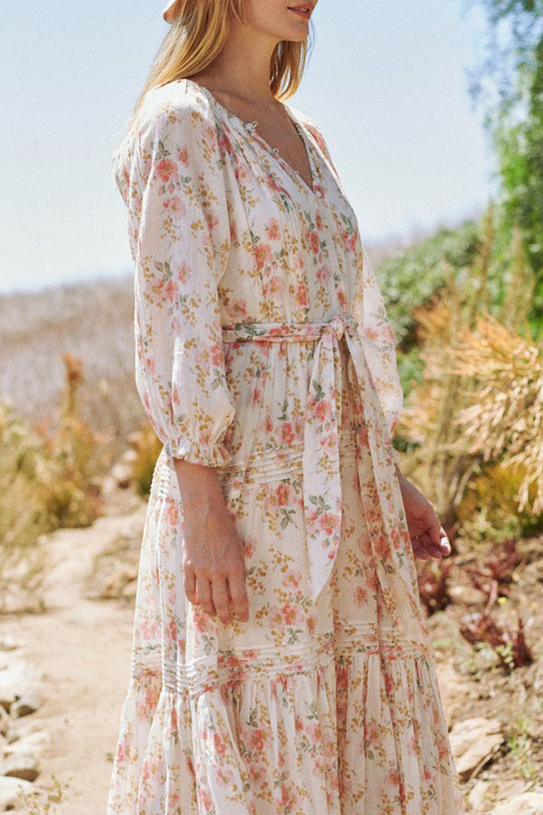The Valley Dress in Pink Sweet Pea Floral