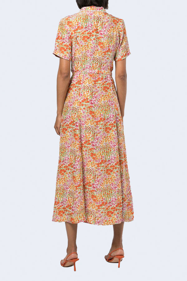 Long Maria Button Down Short Sleeve Dress in Blooming Garden