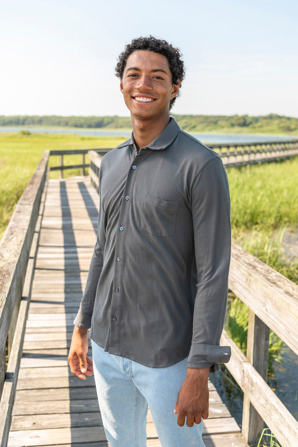 Long Sleeve Button Down Shirt in Charcoal
