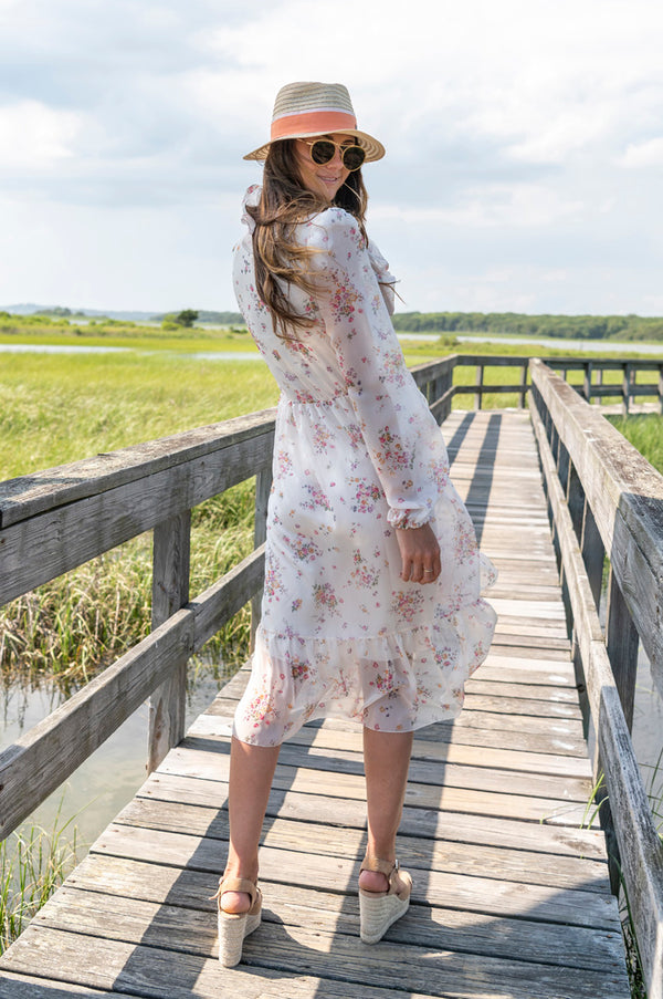 Floral V-Neck Long Sleeve Dress in Fantasy Print White