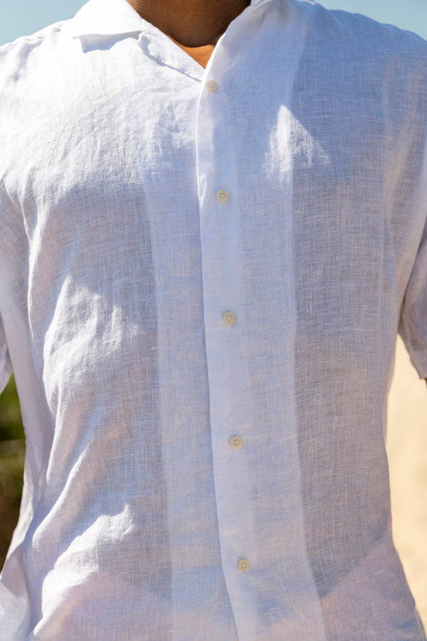 Linen Camp Shirt in White