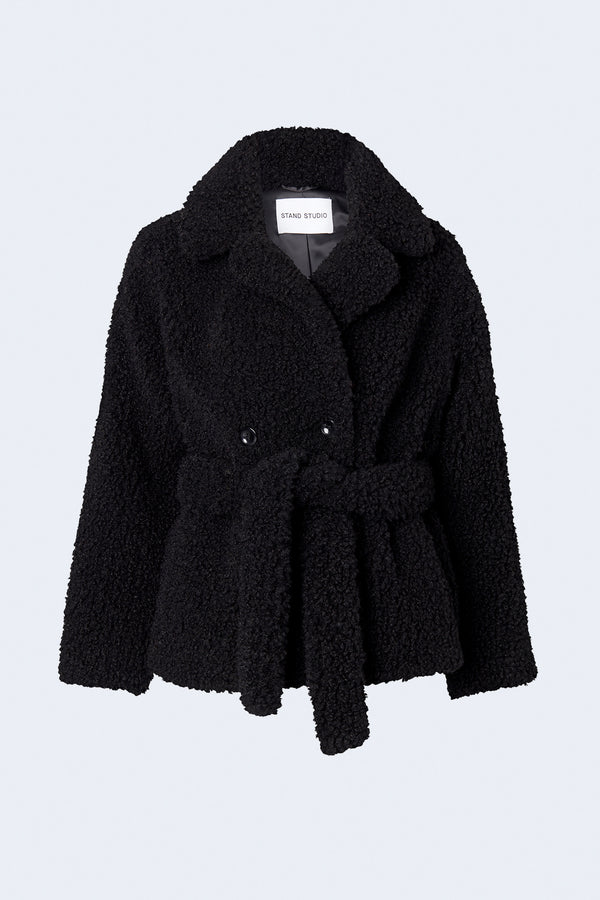 Tiffany Faux Fur Jacket in Black Solid