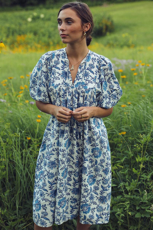 Saffron Puff Sleeve Dress in Blue Floral