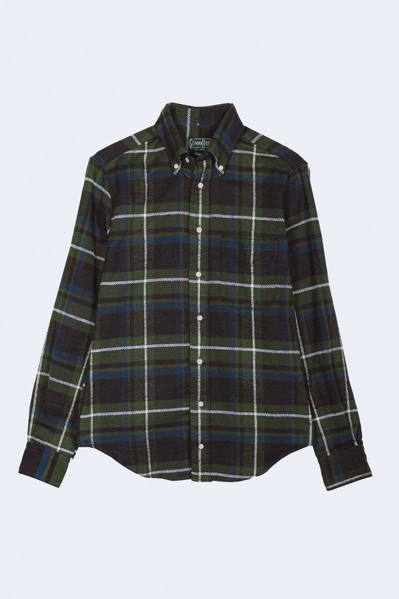 Rough Check Flannel Oxford Button Down Shirt in Green Grey